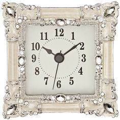 Universal Lighting and Decor Kenova White and Silver Jeweled Table... ($20) ❤ liked on Polyvore featuring home, home decor, clocks, white, dial clocks, white home accessories, silver desk clock, white desk clock and silver home decor