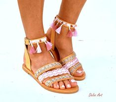 IMPORTANT: Please include a phone number at checkout, as its required by the carrier WE OFFER EXPRESS SHIPPING WORLDWIDE 1-4 DAYS WITH NO EXTRA CHARGE Handmade leather sandals made to order. All my sandals are handmade to order and need 10 days to be made. Leather Boho Sandals, CYMONE, Bohemian Sandals, Boho Shoes, Greek Sandals, Bare Foot Sandals, Gorgeous Feet, Pink Summer, Girls Shoes, Leather Sandals, Me Too Shoes
