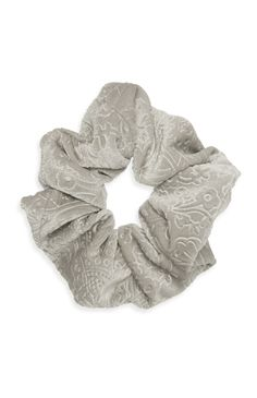 Grey Embossed Velvet Scrunchie