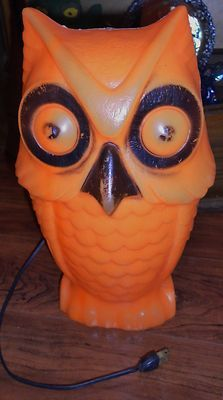 vintage halloween owl blow mold w big eyes orange blowmold light up decor