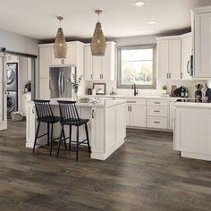Le Dalmar Somerset 7 x 48 x Luxury Vinyl Plank in Sand Piper Grey Kitchen Cabinets, Kitchen Cabinet Design, Kitchen Layout, Kitchen Designs, Kitchen With Granite Countertops, Kitchen With Black Appliances, Gray Kitchen Walls, White Cabinet Kitchen, White Cabinets White Countertops