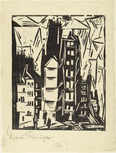 """Lyonel Feininger. Houses in Old Paris (Pariser Häuser). 1919. Woodcut. composition: 12 5/16 x 9 15/16"""" (31.2 x 25.3 cm); sheet: 16 1/16 x 12 1/16"""" (40.8 x 30.7 cm). unpublished. the artist. state I: 1 known impression; state II: approx. 6-15 [this ex.]. Gift of William S. Lieberman in honor of Louise Reinhardt Smith. 25.1996. © 2017 Artists Rights Society (ARS), New York / VG Bild-Kunst, Bonn. Drawings and Prints"""
