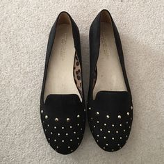 Christian Siriano for Payless black studded flats Black suede flats with gold stud design. Never worn. Christian Siriano Shoes Flats & Loafers