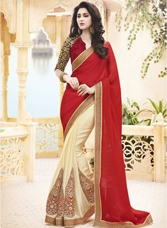 Buy Mahotsav Red Embroidered Saree for Women Online India, Best Prices, Reviews | MA277WA79KTSINDFAS