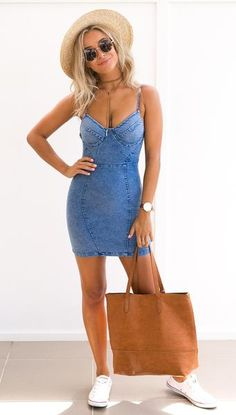 Denim Mini Dress - [Pre order] - Nouveau Riche Boutique