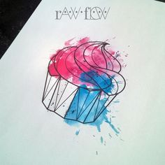 http://therawflow.tumblr.com/post/124939524890/geometric-linework-cupcake-tattoo-with-cyan