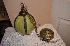 VTG MID CENTURY GLASS SLAG TULIP LOTUS BRASS HANGING LAMP LIGHT FIXTURE