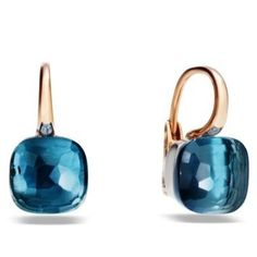Pomellato 18k Pink Gold Blue Topaz Small Nudo Earrings  Now available at Diamond Dream Fine Jewelers https://www.facebook.com/pages/Diamond-Dream-Fine-Jewelers/170823023636 https://www.diamonddreamjewelers.com info@diamonddreamjewelers.com 908.766.4700