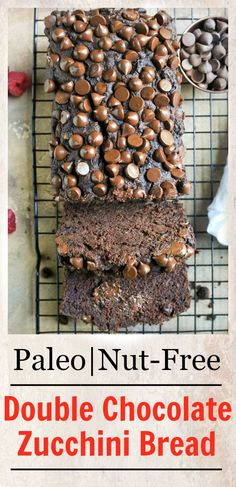 This Paleo Nut-Free Double Chocolate Zucchini Bread is rich, moist, and so choco. - This Paleo Nut-Free Double Chocolate Zucchini Bread is rich, moist, and so chocolatey! It tastes li - Paleo Dessert, Gluten Free Desserts, Healthy Desserts, Healthy Recipes, Paleo Meals, Healthy Sweets, Paleo Chocolate Chips, Chocolate Zucchini Bread, Paleo Zucchini Bread