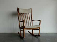 Vintage Danish Modern Hans Wegner Teak Rocking Chair by CoMod