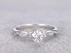 Vintage Moissanite Engagement Rings Diamond Promise Ring White Gold 14k/18k Art Deco Retro Milgrain #vintageengagementrings #WhiteGoldJewellery