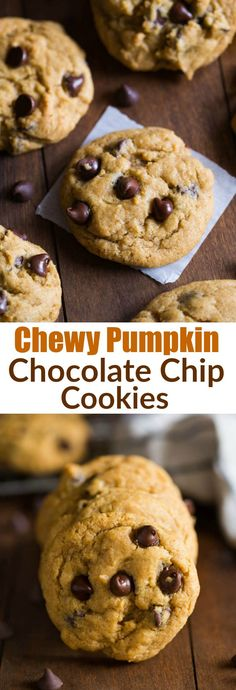 Non-cakey, bakery style chewy pumpkin chocolate chip cookies. These cookies are AMAZING! Picture your favorite chocolate chip cookies mashed up with the flavors of pumpkin and fall spices. Completely addicting! | tastesbetterfromscratch.com