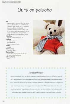 OURS EN PELUCHE AU TRICOT. Knitted Teddy Bear, Crochet Teddy, Knit Crochet, Patron Crochet, Thing 1, Knitting Patterns, Toys, Animals, Couture