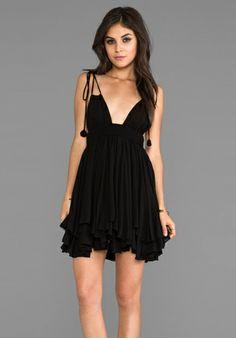 INDAH Ophelia Rayon Chiffon Keyhole Adjustable Tie Top Dress with Smocked Waistline in Black - Dresses