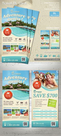 Travel DL Flyer by MrTemplater Travel DL Flyer ready for print. Light and modern design for flyer. Perfect for Travel Agency, Travel DistributionCompany or Trav