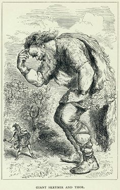 """According to the Prose Edda book Gylfaginning, Thor, Þjálfi and Loki, during their travel to Útgarðr, unwittingly settle for the night and sleep in the glove of a giant named Skrýmir (""""Big-looking""""), an incident for which Thor is ridiculed in several poems of the Poetic Edda. (The Giant Skrymir and Thor (c. 1891), by Louis Huard)"""