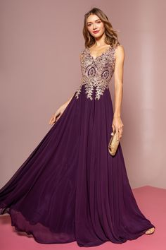 ebd9b204d9 Plunging V Plus Size Gown with Gem Applique Bodice Style A20608W ...