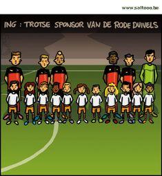 Thema van de cartoon op deze pagina: ING de trotse sponsor van onze Rode Duivels, klik op de cartoon om naar de volgende te gaan