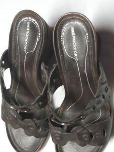 Rockport Sandals Size 8 Medium Brown Tumbled Leather Wedge Retail $130  #Rockport #SlipOnWedge