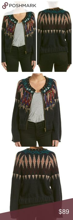 """NWT FREE PEOPLE Stand Back Cardigan Stud and Fringe detailing. Elasticized band at hem. Zipper closure. Beautiful fun pattern  around  neckline with stud accent. Approximate 22"""" from shoulder  to  hem. Shel:30% nylon, 30% acrylic, 20% wool, 20% Mohair.  Embroidery: 39% acrylic, 28% polyester, 16% wool,9% rayon, 5% mohair, 2% nylon, 1% alpaca. Hand  wash cold. Black  combo Free People Sweaters Cardigans"""