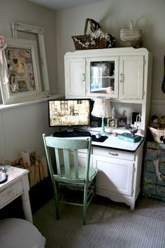 Love the idea of using a cabinet like this outside of the kitchen