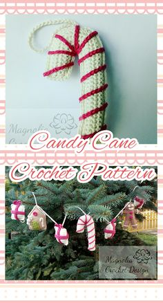 Beginner friendly pattern, US crochet terminology Christmas Candy, Christmas Ornaments, Candy Cane Ornament, Christmas Crochet Patterns, Holiday Decor, Unique Jewelry, Handmade Gifts, Etsy, Design
