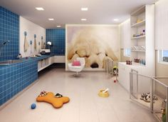 ANIMAL ROOM: I love the idea of huge over-sized portraits of all of my animals :) Dog Grooming Tools, Dog Grooming Salons, Animal Room, Puppy Room, Dog Spa, Pet Hotel, Pet Resort, Dog Salon, Dog Wash