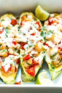Cilantro Lime Chicken Stuffed Zucchinis are such a fun and creative way to eat a healthy Paleo, ketogenic and low-carb dinner.