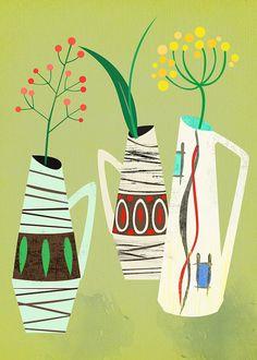 VENTE de Noël -3 milieu siècle édition limitée-vases art print de 50