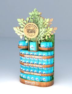 FSDU, natural product range with 3D wooden tree for authenticity.