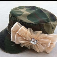 Camo military style hat with bow  www.morethanahat.con
