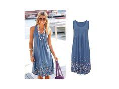 Dámské letní šaty s motivem květin Modré. V nabídce 3 barevné varianty.