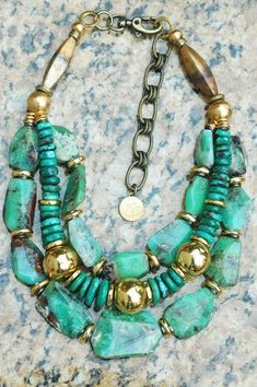 Stunning Green Amazonite Stone and Turquoise Necklace   by xogallery.com: