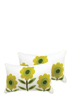 Set of 2 Cream Color Pillows with Yellow Flowers