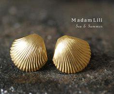 70er Jahre Vintage Muschel Ohrringe für Sommerfeeling / vintage shell stud…