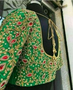 Best Picture For wedding saree blouse designs brides For Your Taste You are looking for something, and it is going … Wedding Saree Blouse Designs, Pattu Saree Blouse Designs, Fancy Blouse Designs, Blouse Neck Designs, Blouse Patterns, Maggam Work Designs, Hand Work Blouse Design, Cotton Silk, Indian Embroidery