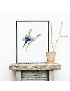 Cornflowers Fine Art Print, Blue Wall Decor, Abstract Flowers Botanical Poster, Floral Home Decor