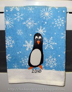 Handprint and Footprint Arts & Crafts: Footprint Penguin Christmas Towel Keepsake