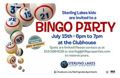 SL invited residents to the Clubhouse for a little bingo party
