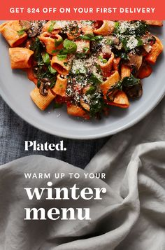 Tired of endlessly searching for recipes and meal planning? With Plated you choose from 11 chef-designed recipes each week, pick your delivery day, and skip weeks when you're not at home. Cook restaurant-quality meals in your kitchen with fresh, pre-portioned ingredients delivered to your door. Start today and get a Free Dinner For 2 ($24 OFF) your first Plated delivery!