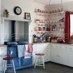 red and blue kitchen