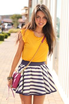 (Ted Baker striped skater skirt &appliquedetail T shirt, Jeffrey Campbell Dresden sandals, Rebecca Minkoff Mini Mac bag, cute ones here & here)