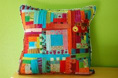 stitchndye. bright scrappy cushion throw pillow