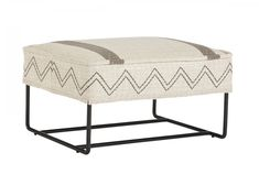 The bent tubing sled base of the vintage-inspired Epicenters Austin Ottoman supports a cushy top upholstered in tweedy stripe and zigzag fabrics.  The top of the ottoman is finished with a thick border of self-welting. #austincollection #arthomefurnishings #ottoman #footrest #organicliving #livingroom #livingroomfurniture #southwest