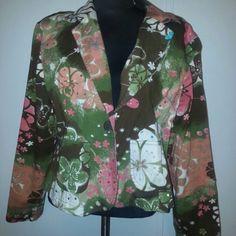 Beautiful multi colored blazer CATO cute blazer.. denim like material in good condition Jackets & Coats Blazers