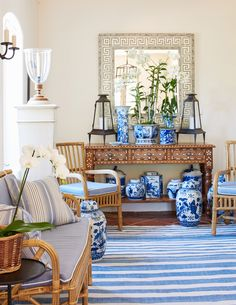 Mark D. Sikes    If you like your Chinoiserie with a more beachy/casual/comfortable vibe, take some tips from Mark Sikes. Stripes are a mu...