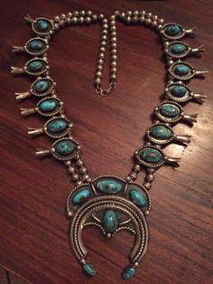 Impressive Vintage NAVAJO Sterling Silver Turquoise SQUASH BLOSSOM Necklace 291g