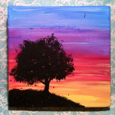 Ideas Tree Silhouette Painting Canvases Canvas Ideas For 2019 Simple Acrylic Paintings, Easy Paintings, Tree Painting Easy, Tree Paintings, Tree Canvas, Canvas Art, Canvas Painting Sunset, Sunset Paintings, Sunset Art