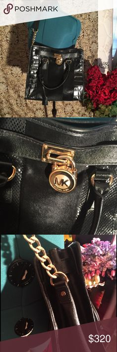 Michael kors Hamilton bag Micheal Kors Large Hamilton with calf skin three different textures alligator,snakeskin-and calf skin. gold hardware pre loved gently used Michael Kors Bags Satchels