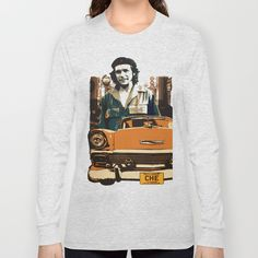 Retro design with Car & Che Guevara Long Sleeve T-shirt Shop: https://society6.com/product/retro-design-with-car--che-guevara_long-sleeve-tshirt#48=354 Design by András Balogh Famous people design series